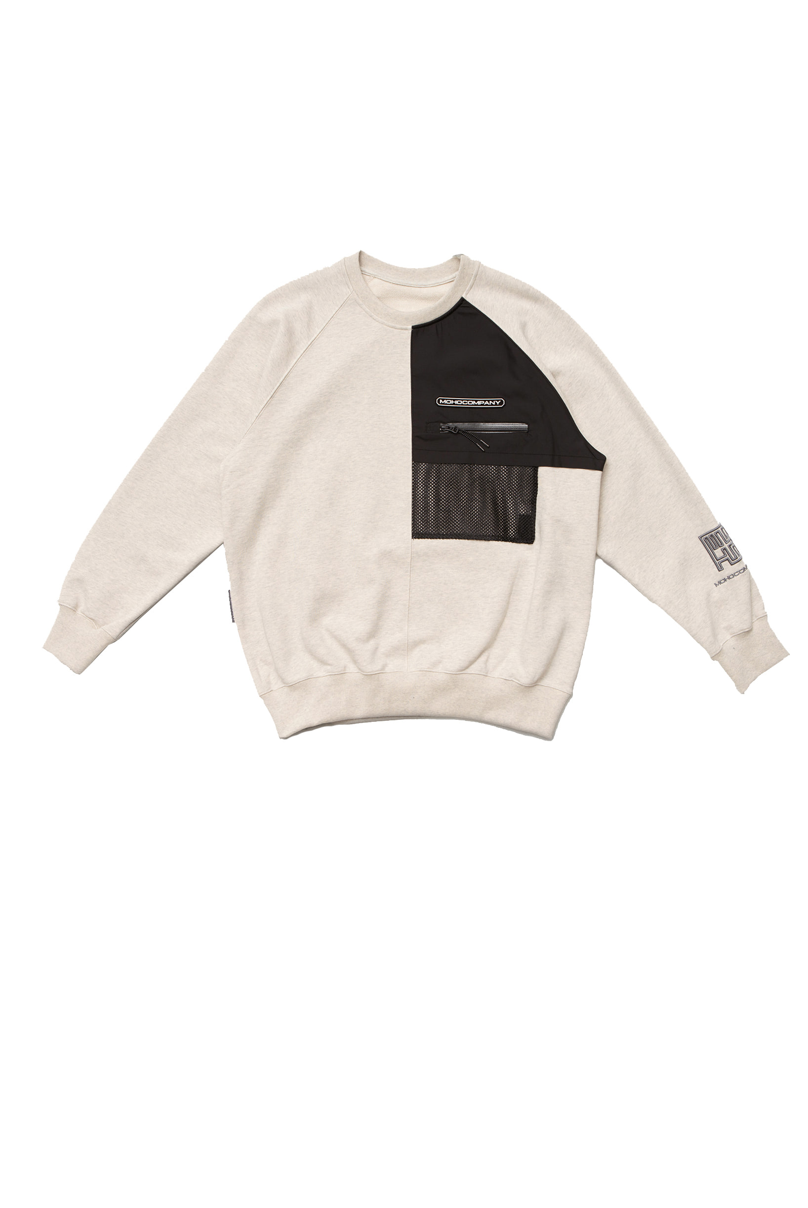 MESH POCKET SWEATSHIRT (OATMEAL)