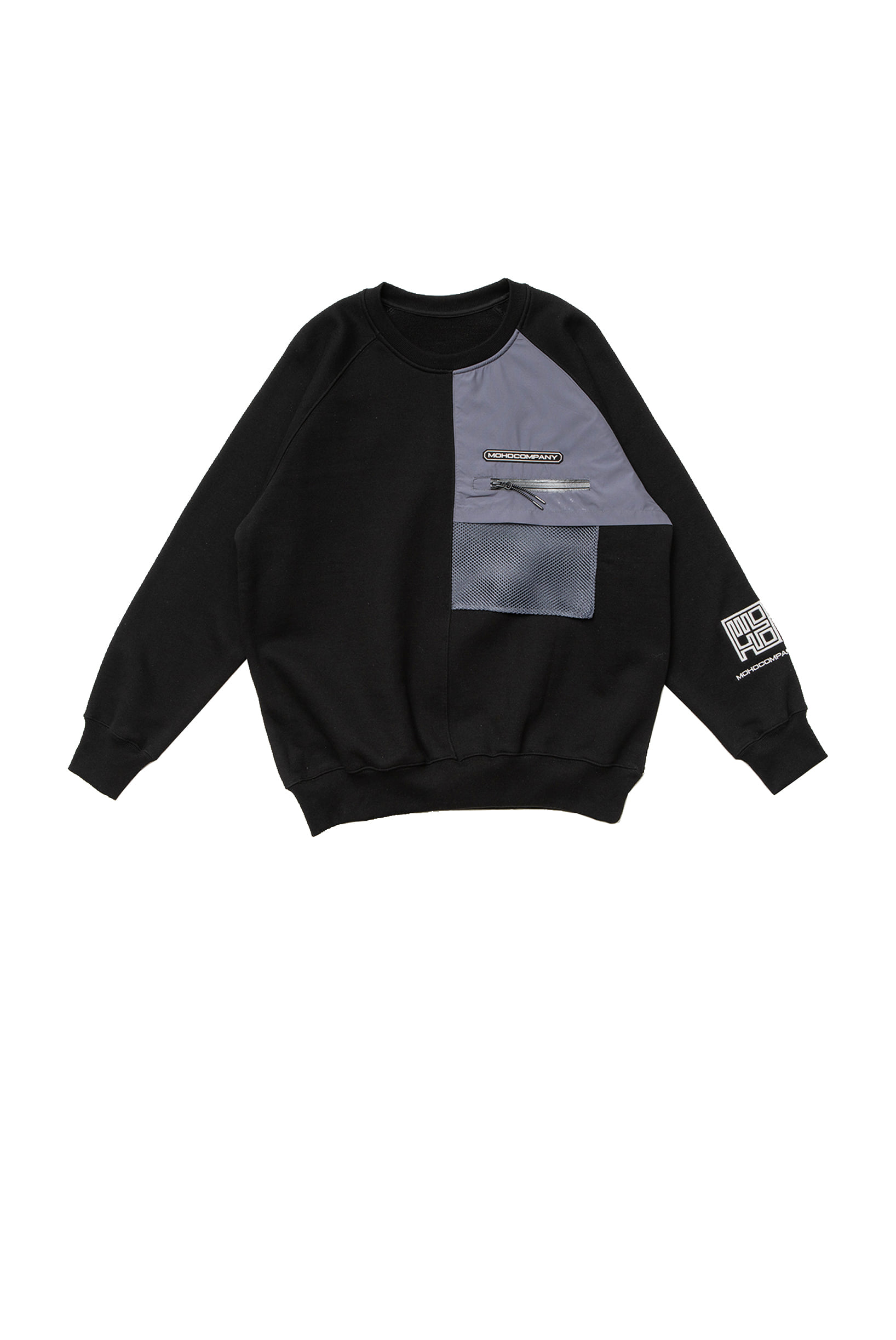 MESH POCKET SWEATSHIRT (BLACK)